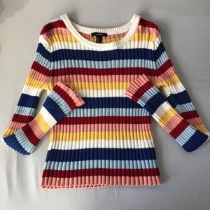 tight fitted multicolored sweater